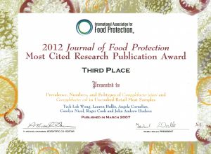 Journal of Food Protection Most cited paper award, third place
